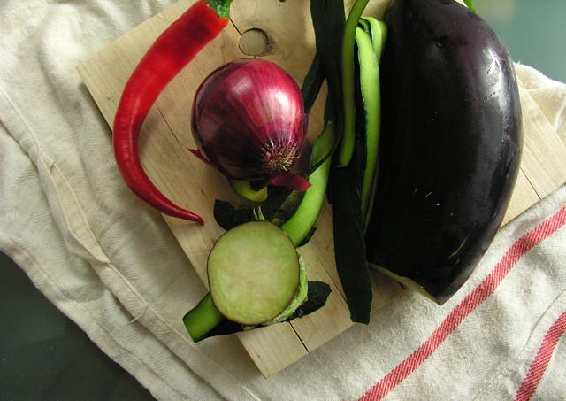 beringela, courgette, chili
