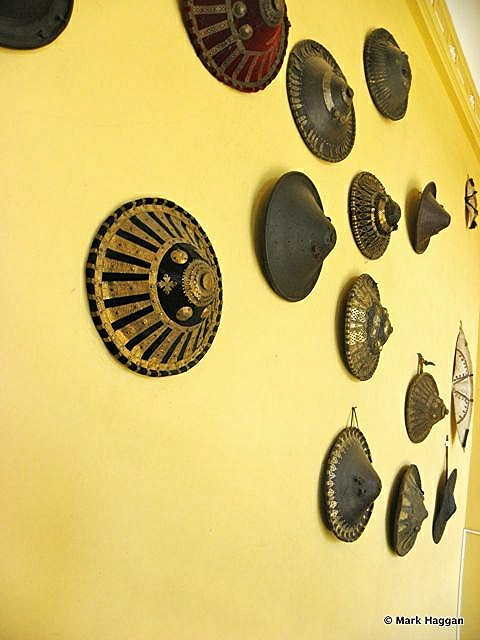 Shields on a wall in a museum in Addis Ababa