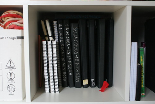Shelf with my journals