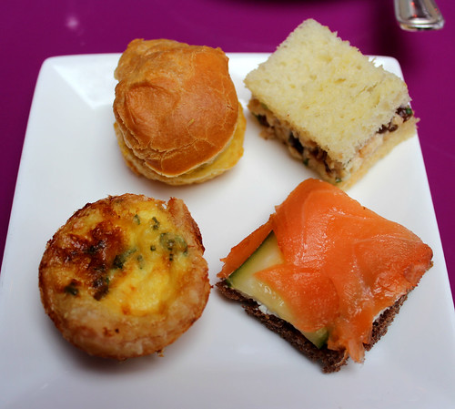 Shades of Pemberley egg salad on profiterole; Mr. Darcy's chicken salad on house-made brioche; Mr. Bingley's four or five thousand a year smoked salmon with caper cream cheese on pumpernickel; and Caroline Bingley's mini gruyere cheese quiche