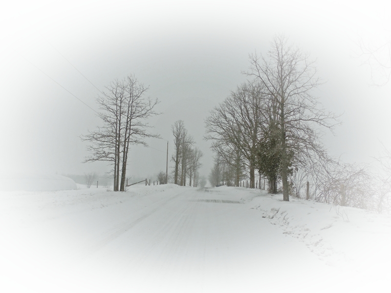 Winter snow in rural Ontario