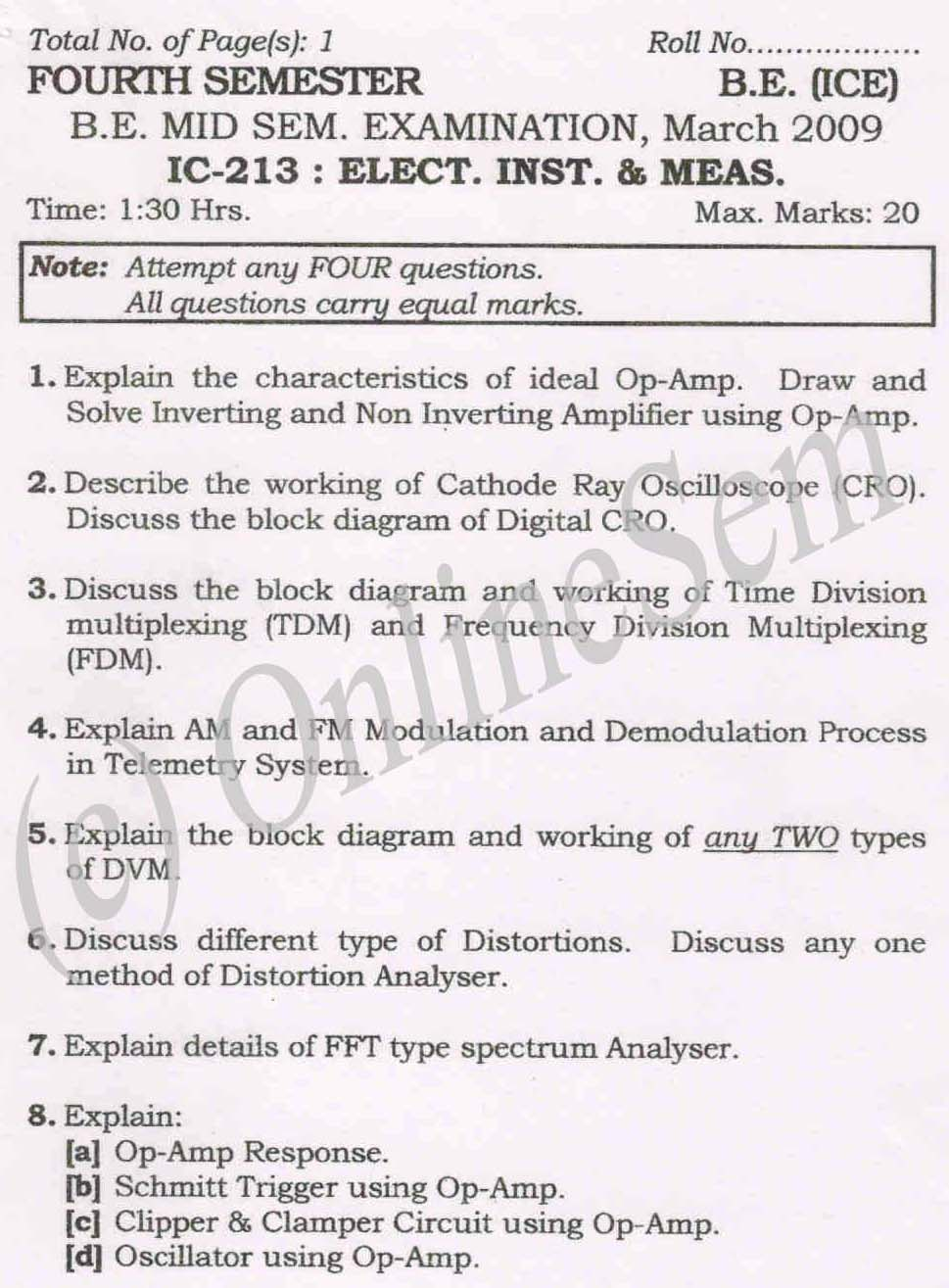 NSIT: Question Papers 2009 – 4 Semester - Mid Sem - IC-213