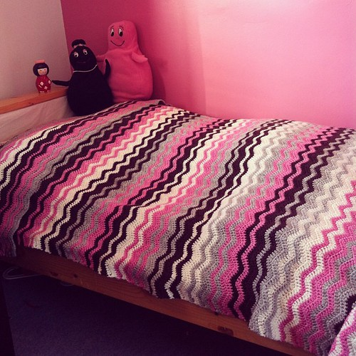 #crochet #blanket #afghan i love how it looks on her bed. And the fact that it is big enough for her to enjoy for a very long time