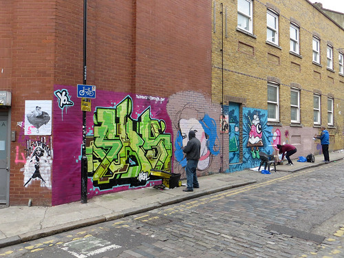 Irony, Sky High and Artista, Chance Street, Shoredtich - March 2013