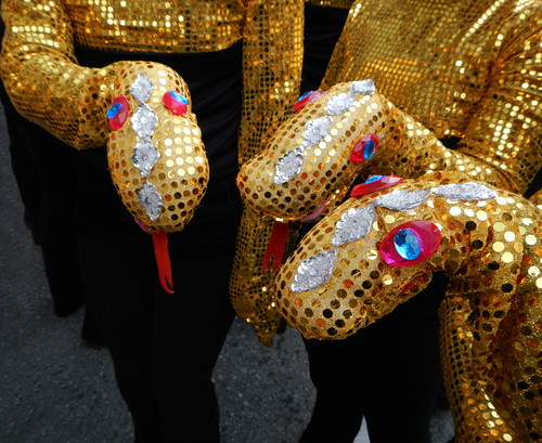 Chinese New Year Parade: Dancers Showing Off their Snake Gloves