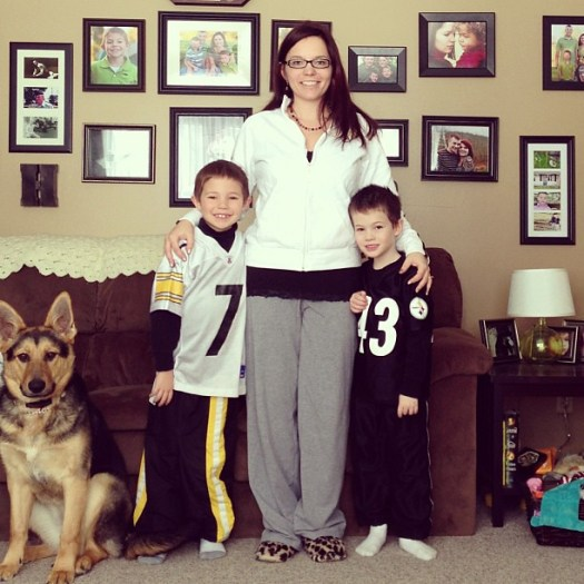 Wearing our Steelers gear. Because yeah.