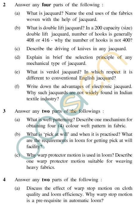 UPTU B.Tech Question Papers - CT-402 - Fabric Manufacture-II