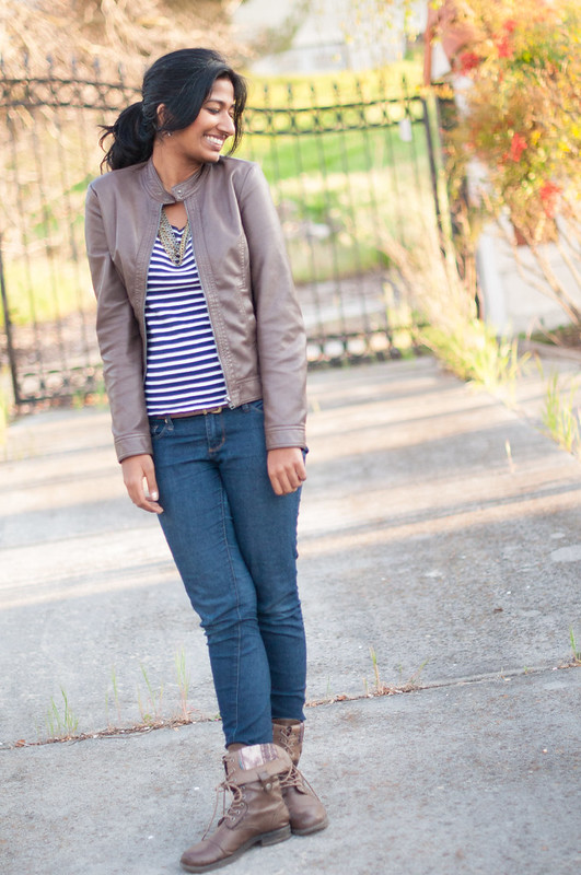 Pairing stripes with leather-3