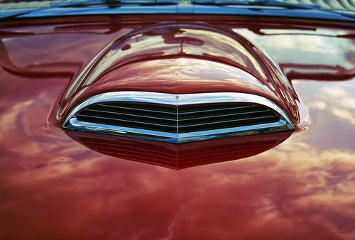 Ripe. Classic car hood scoop in red. Copyright Jen Baker/Liberty Images; all rights reserved.