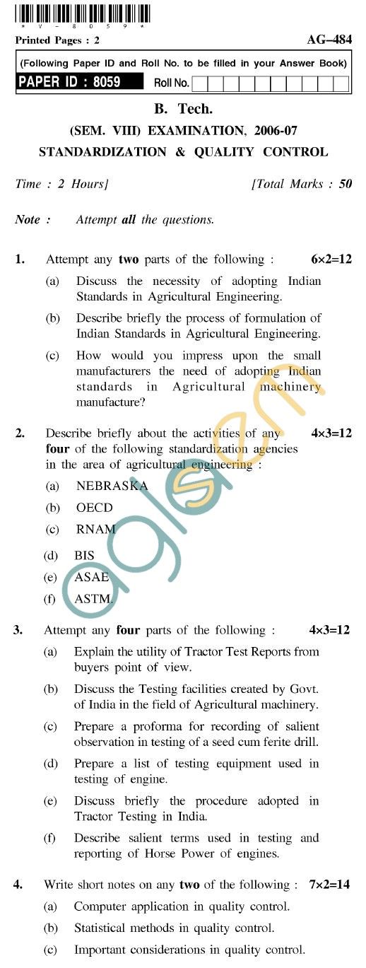 UPTU B.Tech Question Papers - AG-484 - Standardization & Quality Control