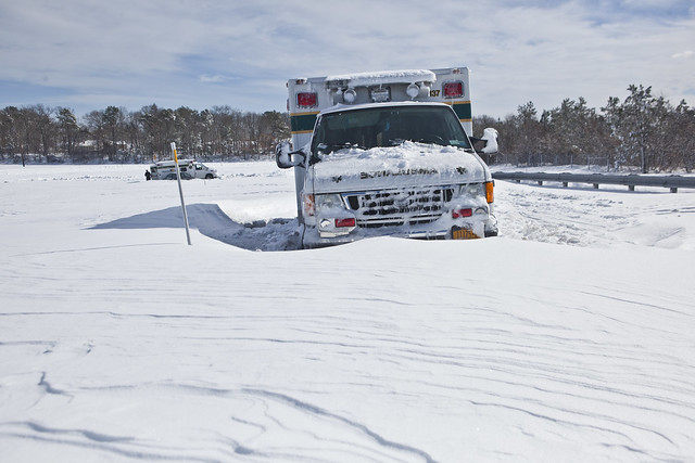 Ambulances stranded on entrance ramp to Long Island Expressway