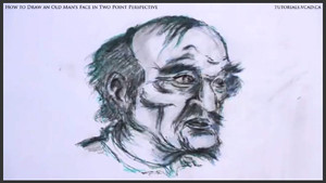 draw an old man's face in two point perspective