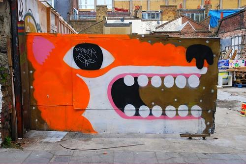 Graffiti (Malarky), Hanbury Street East London, England.