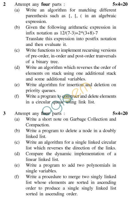 UPTU B.Tech Question Papers - CS-402-Data Structures Using 'C'