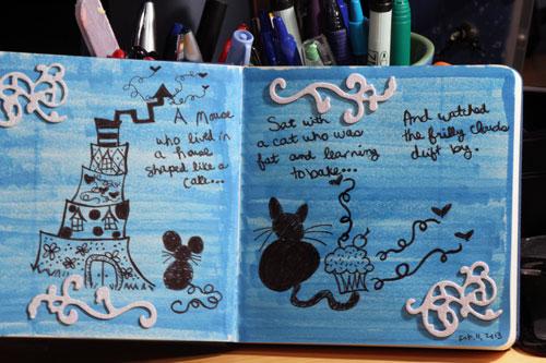 Art Journal: Markers, Black Ink, Embellishments