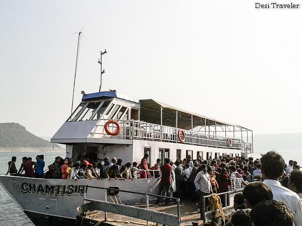 stampede when the boat arrives at Nagarjunakonda
