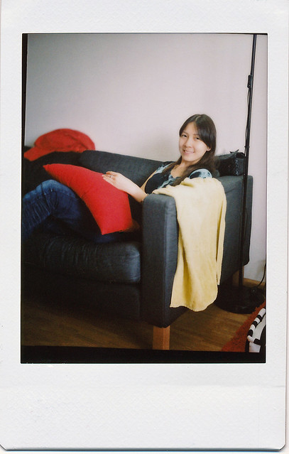 """On the Sofa""; Film: Fujifilm instax mini; Camera: Original Rolleiflex (1929)"