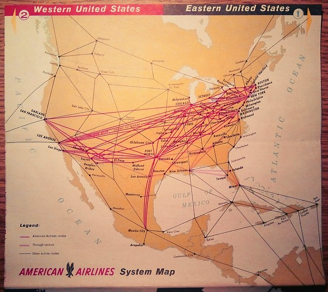 1959 American Airlines Route Map Details