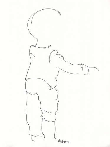 Pen sketch of standing toddler