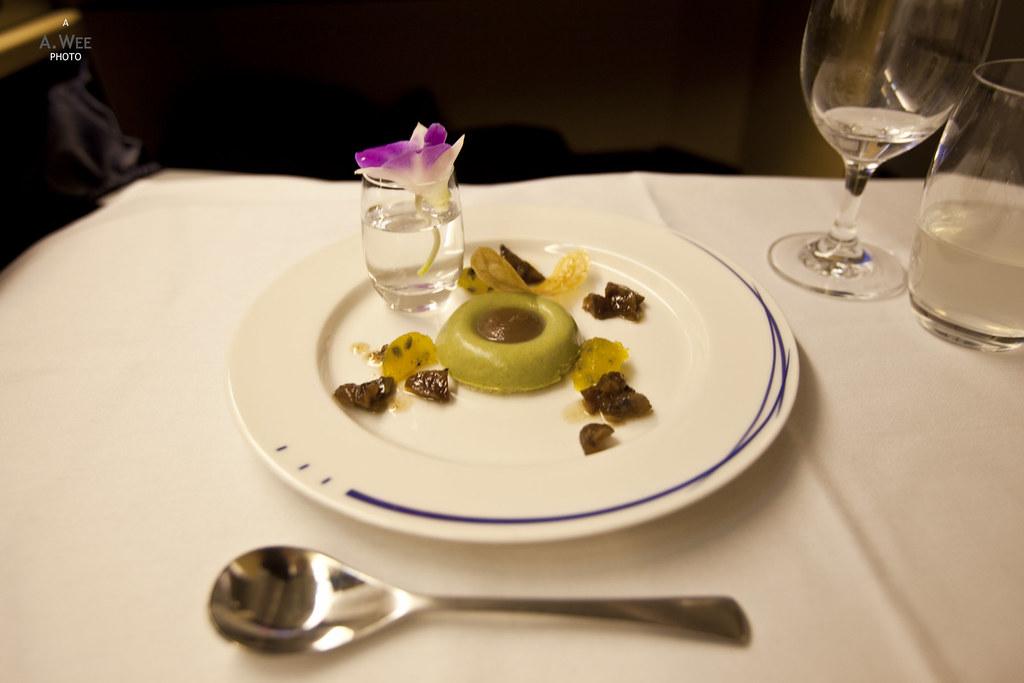 Variation autour du marron, du thé vert matcha et du fruit de la passion