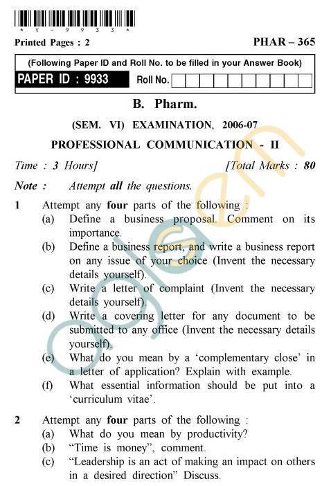 UPTU B.Tech Question Papers -PHAR-365 - Professional Communication-II