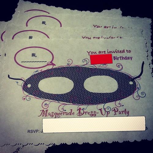 Day 68/365 (2013): Custom Birthday Invites for the Girl's Birthday Party.