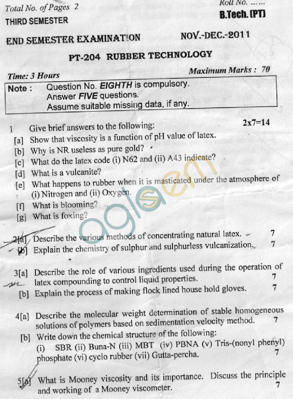 DTU Question Papers 2011 - 3 Semester - End Sem - PT-204