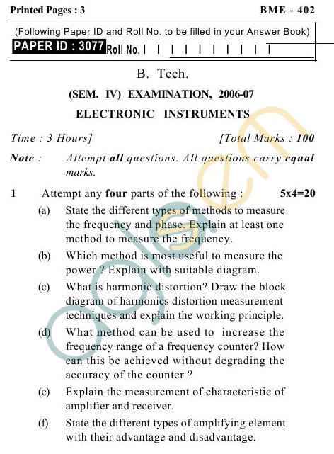 UPTU B.Tech Question Papers -BME-402- Electronics Instruments