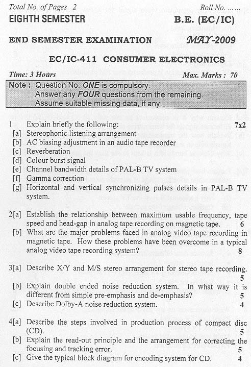 NSIT: Question Papers 2009 – 8 Semester - End Sem - EC-IC-411
