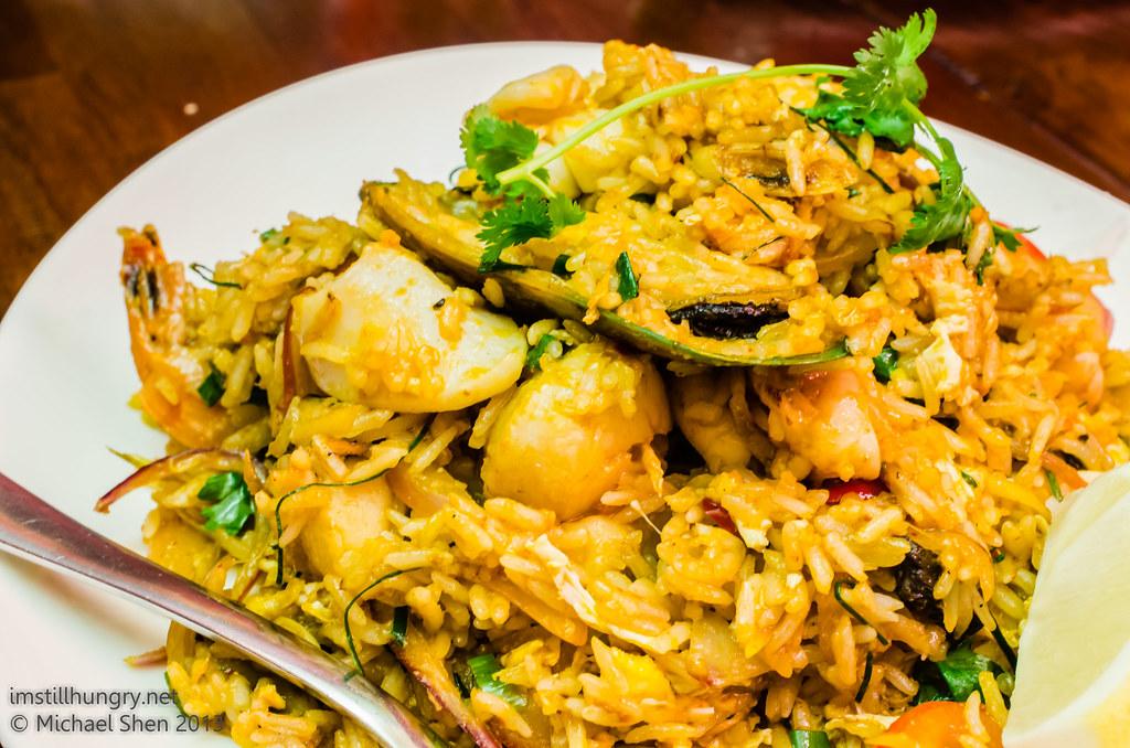 Atom Thai Tom Yum Fried Rice (mild) - traditional Thai style tom yum sauce, seafood, rice, lemongrass, egg, soy sauce, shallot, kaffir and lime leaf