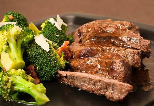 Steak with Broccoli Salad