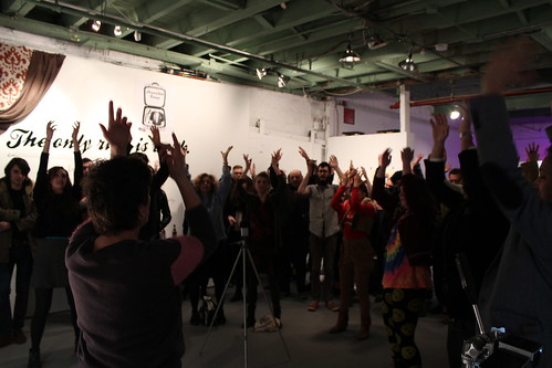 Opening reception & performance: Saturday, February 16th, 6 pm – 9 pm Exhibition dates: February 16th – 24th Closing event, IRON CHEF FLUX: Saturday, February 23rd, 6 – 8 pm Hours: open weekends, 12 – 6 pm or by appointment (call 413.441.6632) Location: Flux Factory, 39-31 29th Street, Long Island City, New York 11101  OH Flux. Flux Factory is a complex web that encompasses an artist collective, an international residency program, a non profit organization, a packed schedule of exhibitions, events, and educational initiatives, and above all, an expansive, intentional, ever-transitioning community. anything ANYTHING highlights Flux's diverse composition and the exciting and tricky balance of all of its ambitions. This group exhibition features artists who have taken part in the Flux community this past year, showcasing the individual work of both residents and administrators in the gallery. At 7:30 PM, the audience is invited to participate in a group performance led by Maria Pecchioli as part of her project Plotting the Urban Body. We'll also be putting our culinary abilities to the test in a live Iron Chef Flux battle, welcoming a new bathroom to the house by collaborating on a new installation inside. Come out to Flux and see all that happens under this roof!  Participating Artists: Alex Nathanson (US), Aliya Bonar (US), Anne Duk Hee Jordan (DE), Christine Laquet (FR), Constantin Hartenstein (DE), Douglas Paulson (US), Irene Lee (US), Jaime Iglehart (US), Lena Hawkins (US), Marco Castro (MEX), Maria Pecchioli (IT), Shona Masarin (AU), Stephanie Avery (CA), Theodoros Zafeiropoulos (GR) & Filippos Oraipoulos (GR), Ye Taik (US). Curated by Carina Kaufman (US) and Mille Højerslev Nielsen (DK).