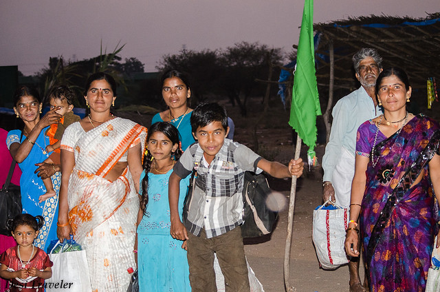 pilgrims with flags going to Ranganath swamy temple near Ethipothala falls