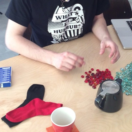 Tim prepping for a KAIGARA playtest. Yes, those are tiny socks. #latergram