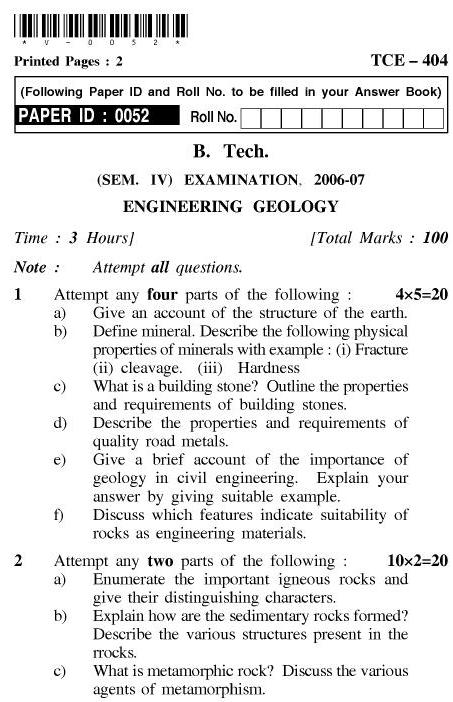 UPTU B.Tech Question Papers - TCE-404-Engineering Geology