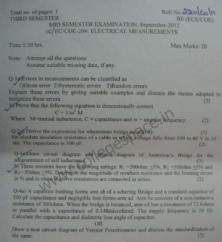 NSIT Question Papers 2012 – 3 Semester - Mid Sem - IC-EC-COE-204