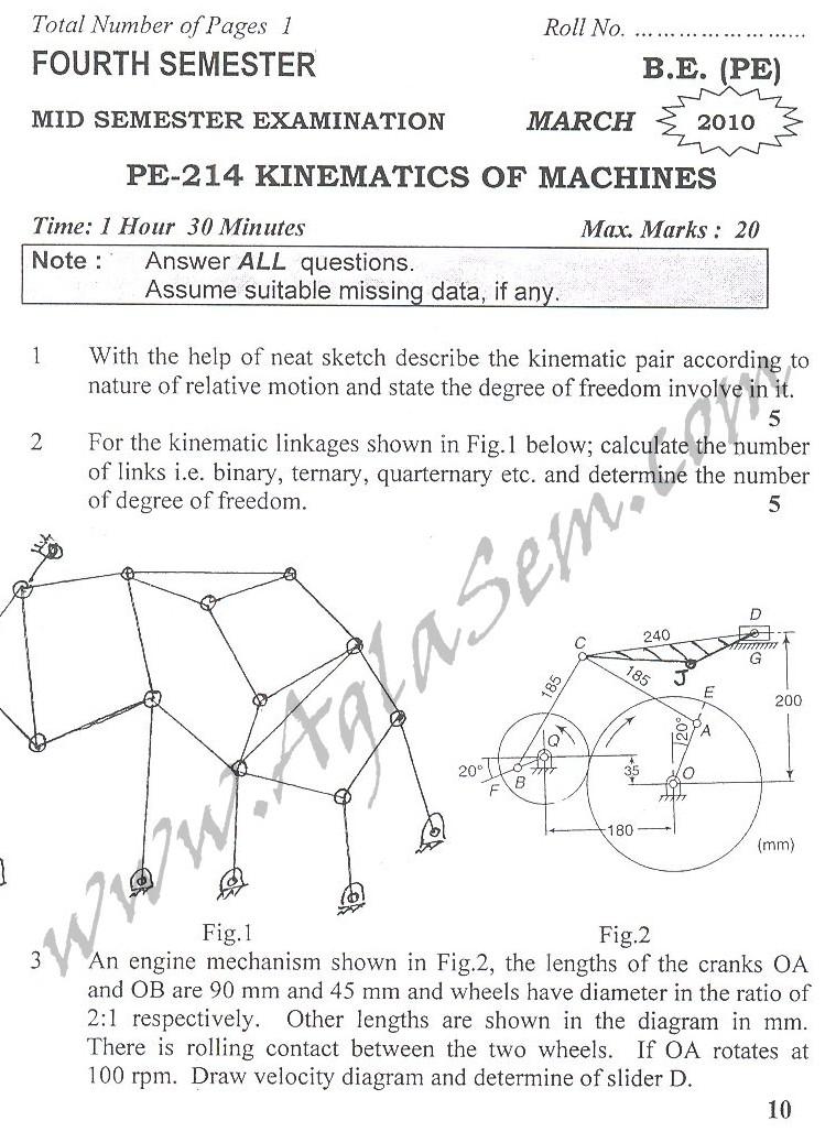 DTU Question Papers 2010 – 4 Semester - Mid Sem - PE-214