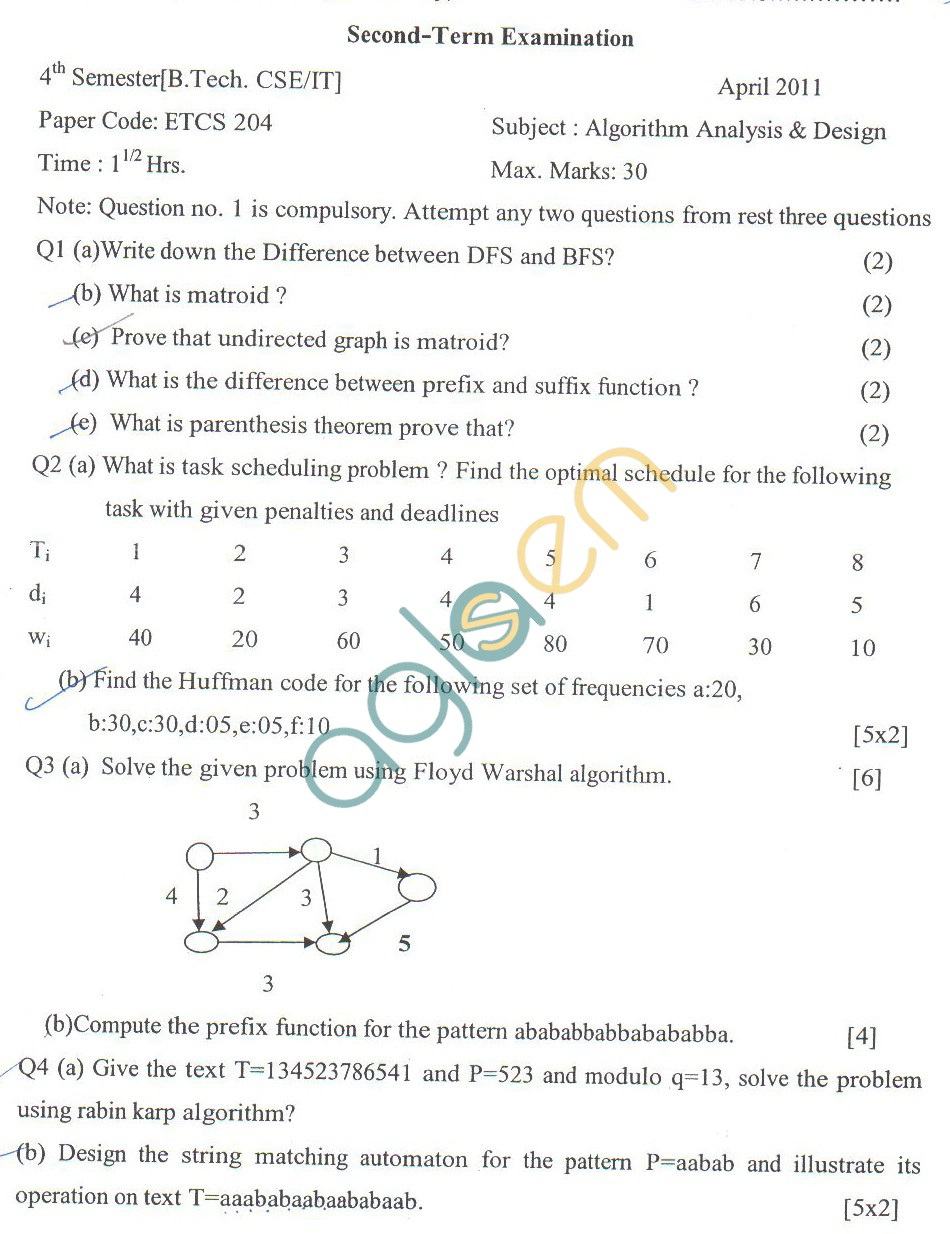 GGSIPU Question Papers Fourth Semester – Second Term 2011 – ETCS-204