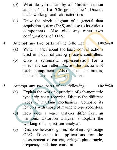 UPTU B.Tech Question Papers -EE-801 - Instrumentation & Process Control