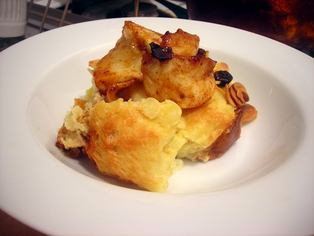 Boozy bread pudding, roasted apples