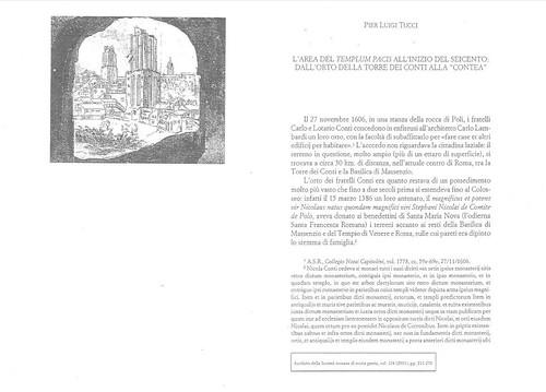 """ROMA ARCHEOLOGIA: Il Foro o Tempio della Pace - Scavi (1998-2013): Pier Luigi Tucci, """"L'area del Templum Pacis all'inizio del Seicento: dall'orto della torre dei Conti alla Contea"""", in A.S.R.S.P., 124 (2001), pp. 211-276. (P. L. Tucci [2013] PDF). by Martin G. Conde"""