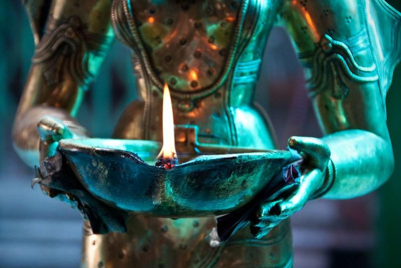 Oil lamp, Mariamman Hindu temple, Saigon
