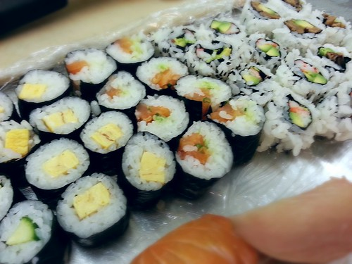 tamago maki, salmon maki, california roll, shiitake maki by pipsyq