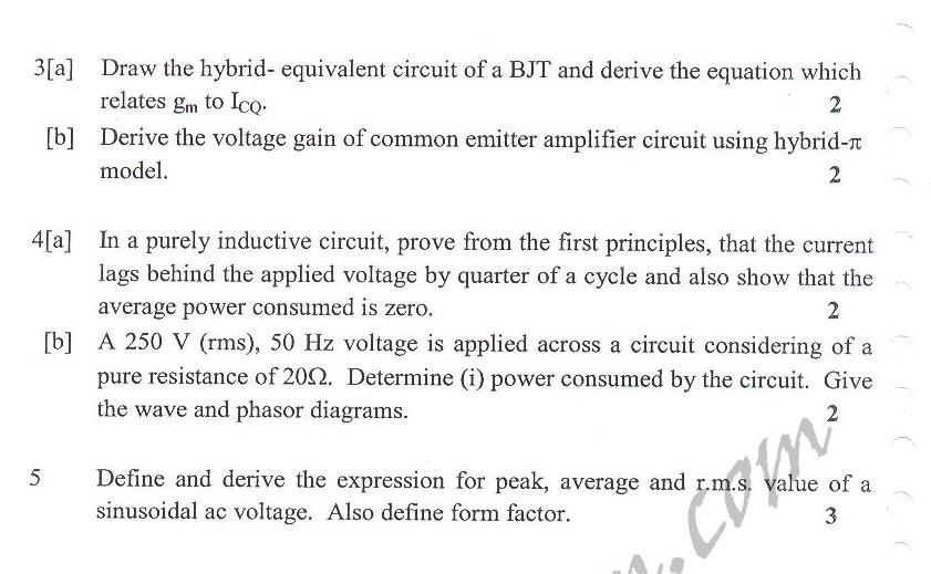 DTU Question Papers 2010 – 3 Semester - Mid Sem - ENE-202
