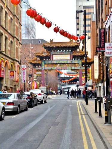 Lanterns in Street, China Town, Manchester by Angela Seager