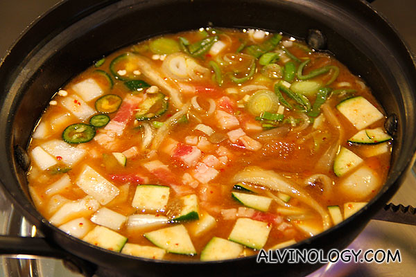 Chadol Duenjang Jjigae (a traditional Korean soybean paste stew with beef; $16)