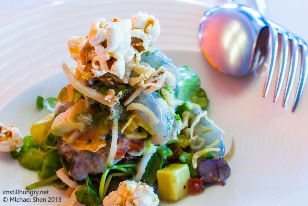 Universal - prawn & coconut ceviche, green chilli salsa, palm sugar popcorn