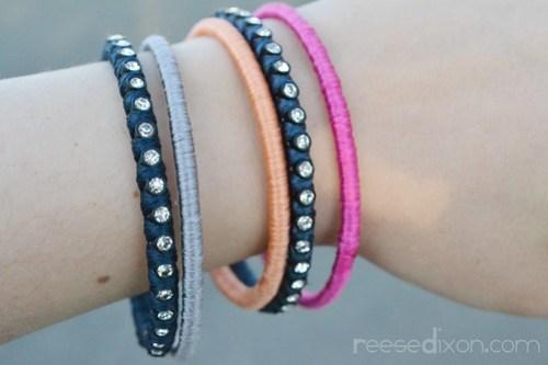 Wrapped Rhinestone Bangle Bracelets