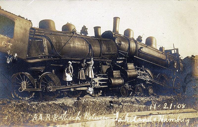 Ann Arbor Rail Road wreck between Lakeland and Hamburg, Michigan, 11-21-08, rppc.
