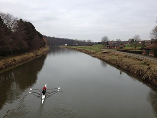 Rowing on a river in Durham